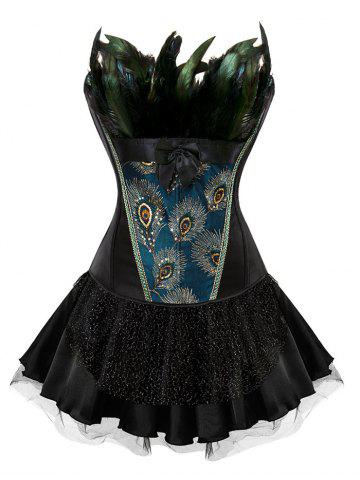 Latest Layered Two Piece Corset Dress with Feather - S BLACK Mobile