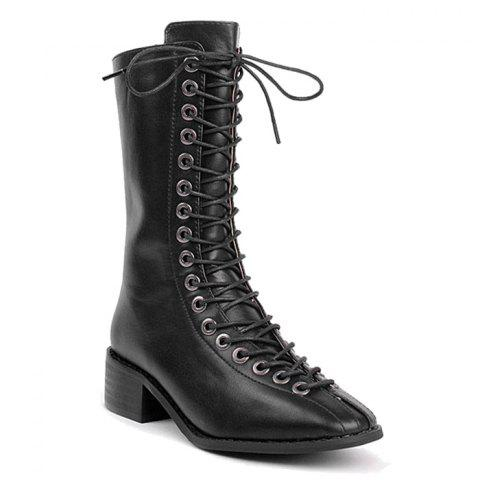 Zip Back Lacing Mid Calf Boots Noir 37