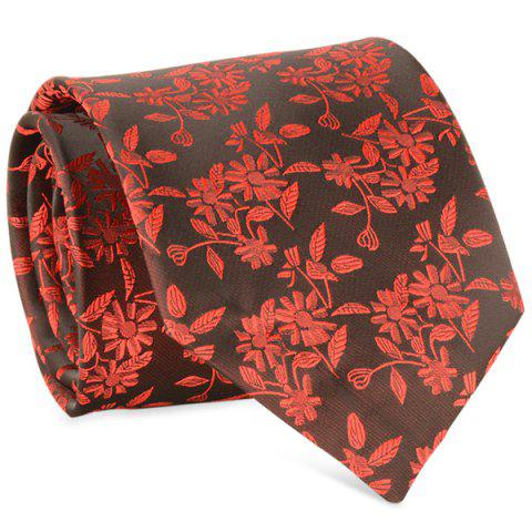 Trendy 8CM Width Small Sunflower Jacquard Tie - RED  Mobile