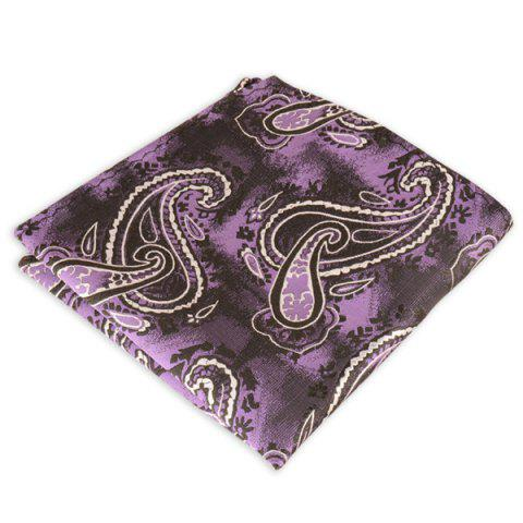 Cheap Paisley Jacquard Stripe Print Pocket Square - PURPLE  Mobile
