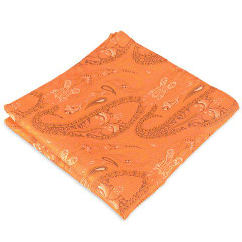 Paisley Jacquard Stripe Print Pocket Square Orange