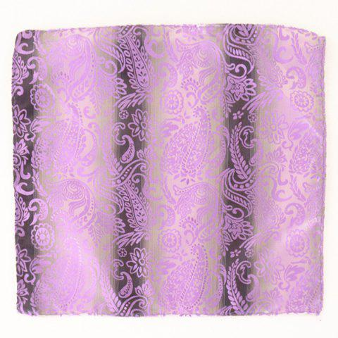 Hot Paisley Jacquard Stripe Print Pocket Square - SUEDE ROSE  Mobile