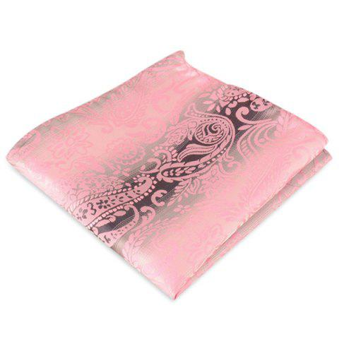 Fashion Paisley Jacquard Stripe Print Pocket Square PAPAYA