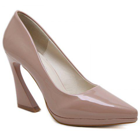 Discount Strange Heel Point Toe Basic Pumps - 36 APRICOT Mobile