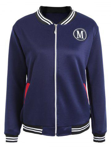 New Zipper Fly Baseball Jacket - S DEEP BLUE Mobile