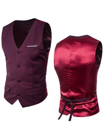 Trendy Satin Panel Single Breasted Belted Waistcoat - 6XL DARK RED Mobile