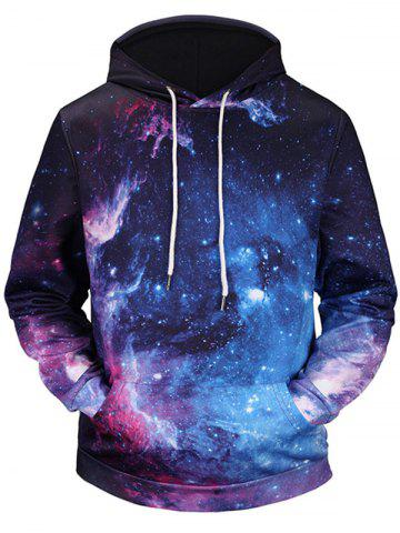 Buy Kangaroo Pocket 3D Galaxy Print Hoodie - L COLORMIX Mobile