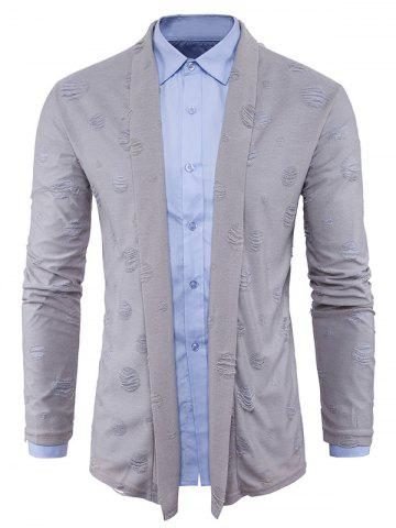 Outfit Shawl Collar Cotton Blends Distressed Cardigan - M GRAY Mobile
