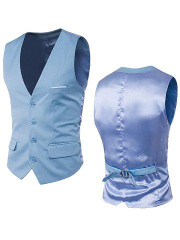 Hot Satin Panel Single Breasted Belted Waistcoat - LIGHT BLUE 3XL Mobile