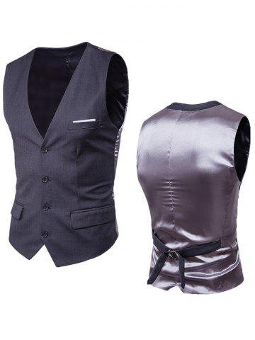Latest Satin Panel Single Breasted Belted Waistcoat - DEEP GRAY 3XL Mobile
