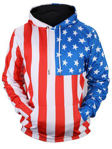 Outfits Kangaroo Pocket Pullover American Flag Hoodie - M COLORMIX Mobile