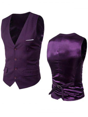 New Satin Panel Single Breasted Belted Waistcoat - PURPLE 5XL Mobile