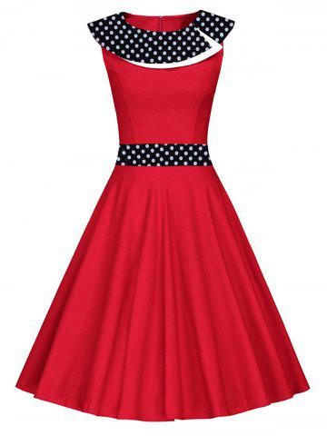 Store Vintage Polka Dot Fit and Flare Dress - S RED Mobile