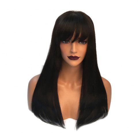 Outfits Long Full Bang Straight Real Hair Wig - JET BLACK #01  Mobile