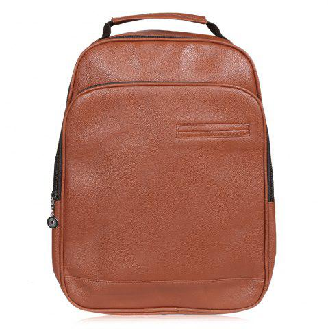 New Faux Leather Double Pocket Backpack - BROWN  Mobile