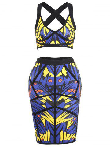 Discount Printed Bandage Skirt and Crop Top Set - S BLUE Mobile