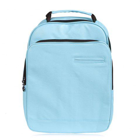 Fancy Faux Leather Double Pocket Backpack LIGHT BLUE