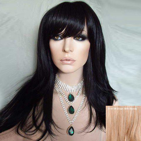 Best Long Side Bang Straight Human Hair Wig BROWN WITH BLONDE