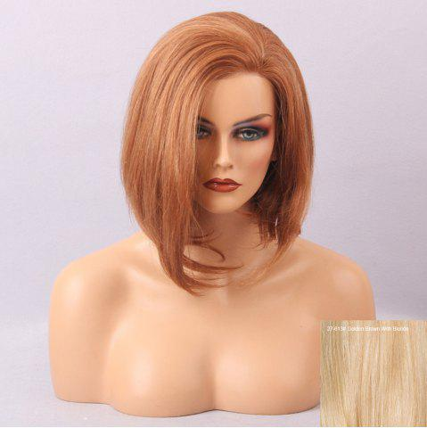 Store Short Inclined Bang Straight Asymmetric Bob Human Hair Lace Front Wig - GOLDEN BROWN WITH BLONDE  Mobile