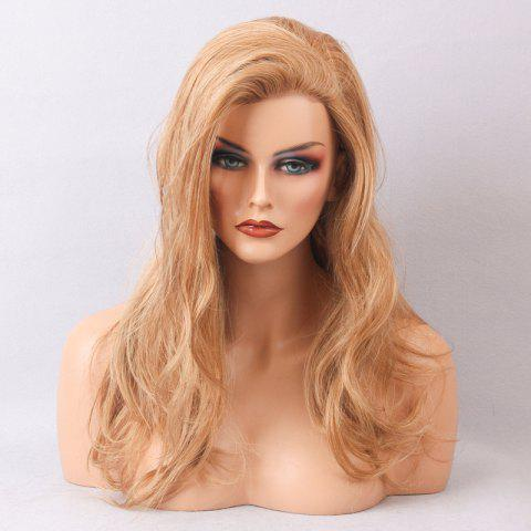 Cheap Long Side Bang Slightly Curly Human Hair Lace Front Wig DARK ASH BLONDE