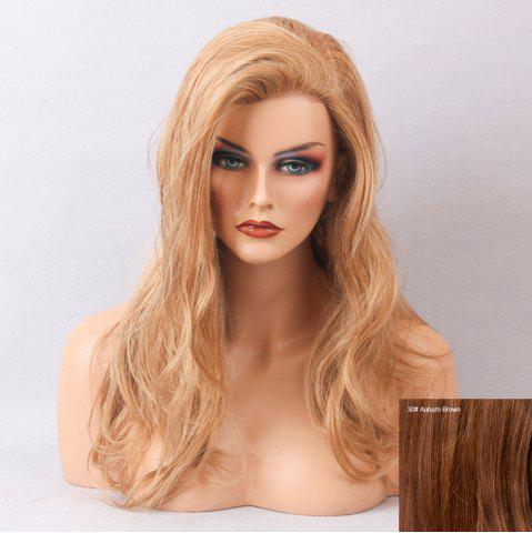 Fancy Long Side Bang Slightly Curly Human Hair Lace Front Wig