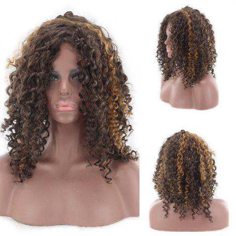 Medium Side Bang Fluffy Highlight Afro Curly Perruque synthétique