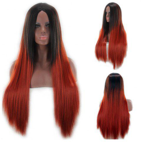Discount Long Center Parting Two Color Straight Synthetic Wig COLORMIX