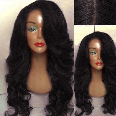 Trendy Long Side Parting Wavy Human Hair Lace Front Wig