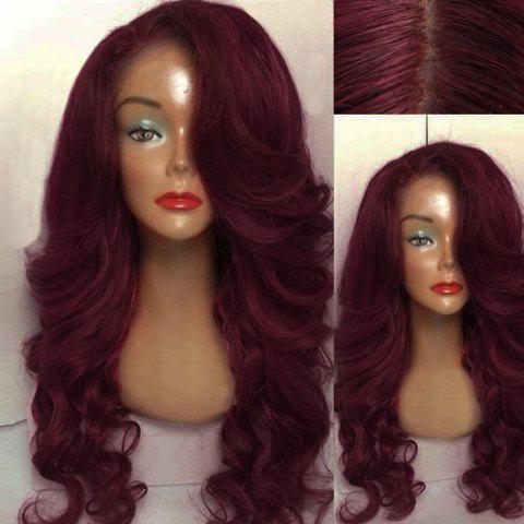 Latest Long Side Parting Wavy Human Hair Lace Front Wig - WINE RED  Mobile