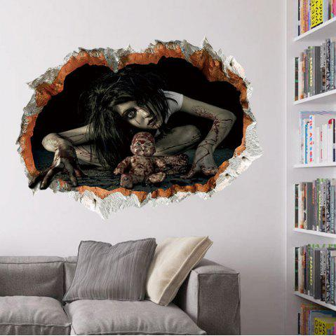 Affordable Halloween Zombie 3D Broken Wall Sticker For Living Room - BLACK  Mobile