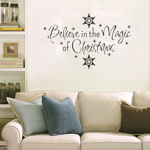 Store Christmas Letter Snowflake Wall Stickers For Bedroom - BLACK  Mobile