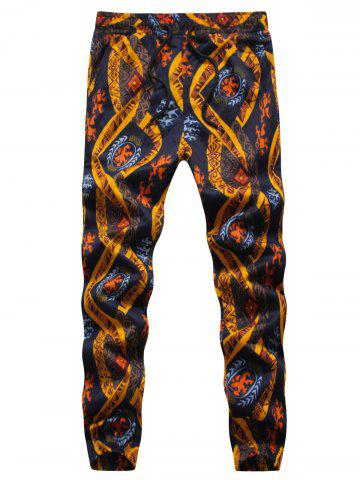 Shop Ethnic Style Print Embossing Jogger Pants - L COLORMIX Mobile
