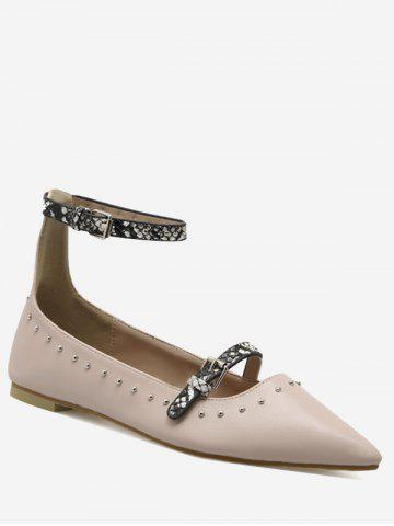 Trendy Buckle Strap Ankle Strap Stud Flats