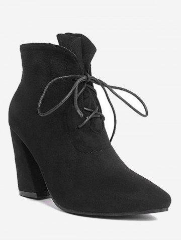 Buy Tie Up Pointed Toe Ankle Boots BLACK 35