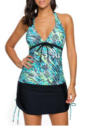Online Halter Printed Skirted Tankini Set - S BLUE GREEN Mobile
