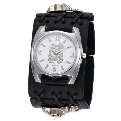 Fancy Gothic Style Skull Embellished Number Watch BLACK