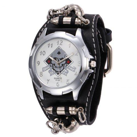 Best Gothic Style Skull Bullet Number Watch BLACK