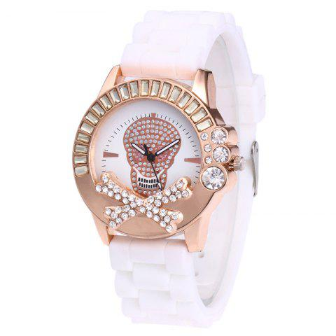 Latest Rhinestone Skull Face Silicone Watch - WHITE  Mobile