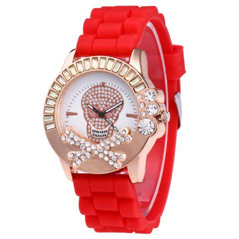 Fancy Rhinestone Skull Face Silicone Watch RED