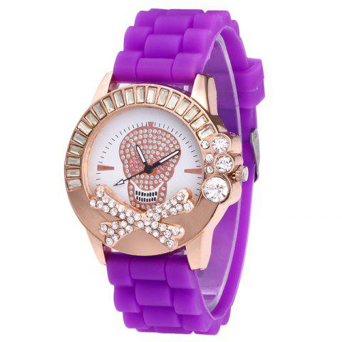 Shop Rhinestone Skull Face Silicone Watch