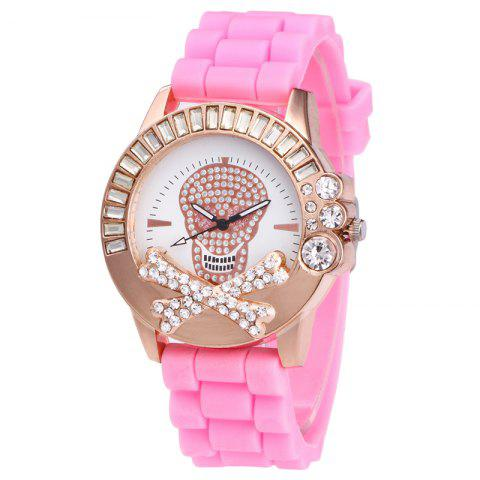 Unique Rhinestone Skull Face Silicone Watch - PINK  Mobile