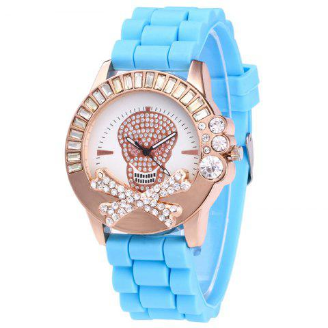 Discount Rhinestone Skull Face Silicone Watch AZURE