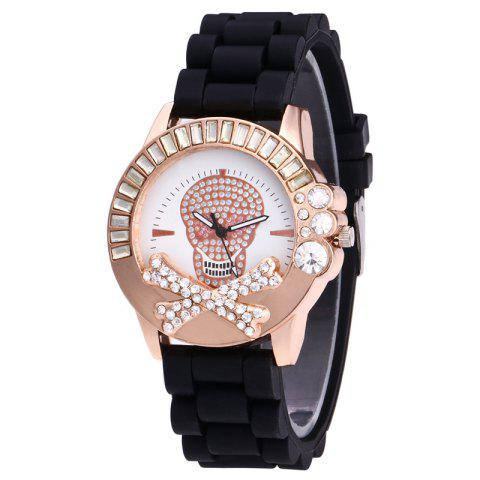 Fancy Rhinestone Skull Face Silicone Watch - BLACK  Mobile