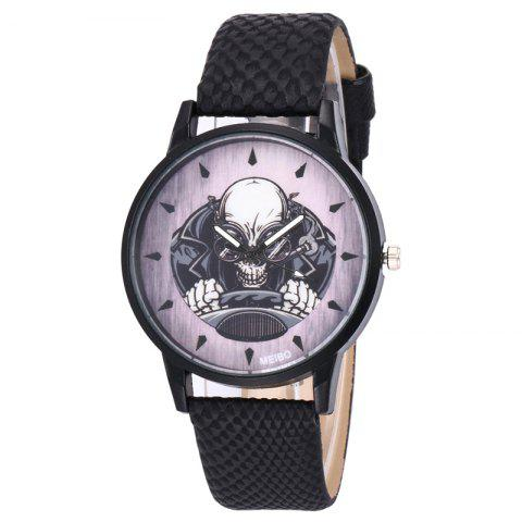 Buy Driving Skeleton Face Faux Leather Watch