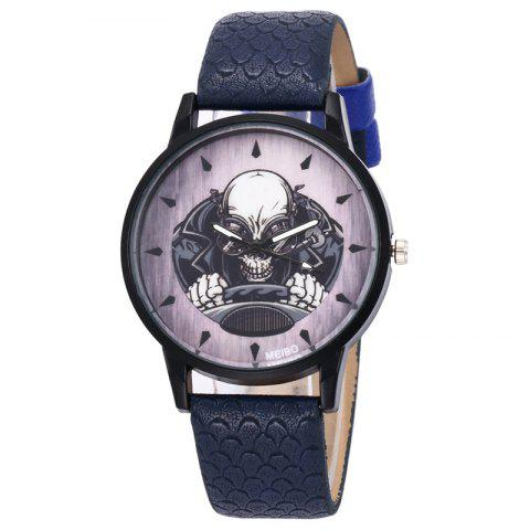 Chic Driving Skeleton Face Faux Leather Watch - DEEP BLUE  Mobile