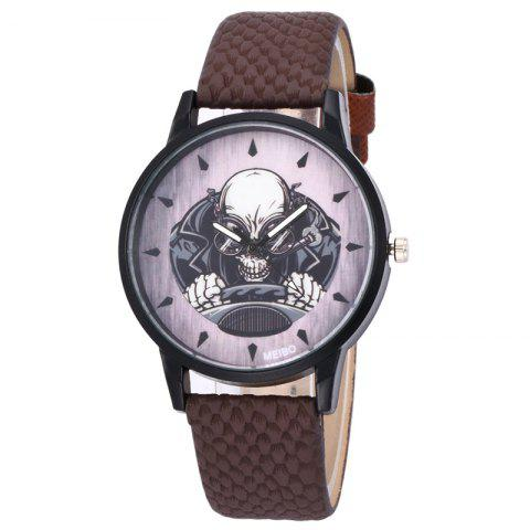 Outfits Driving Skeleton Face Faux Leather Watch - BROWN  Mobile