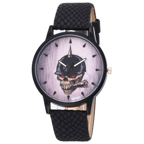 Fashion Smoking Skull Face Faux Leather Watch - BLACK  Mobile