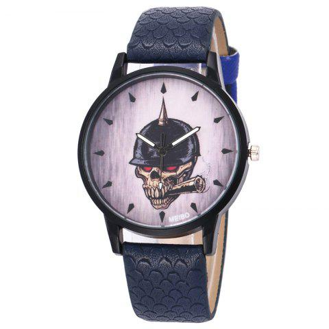 Outfit Smoking Skull Face Faux Leather Watch DEEP BLUE