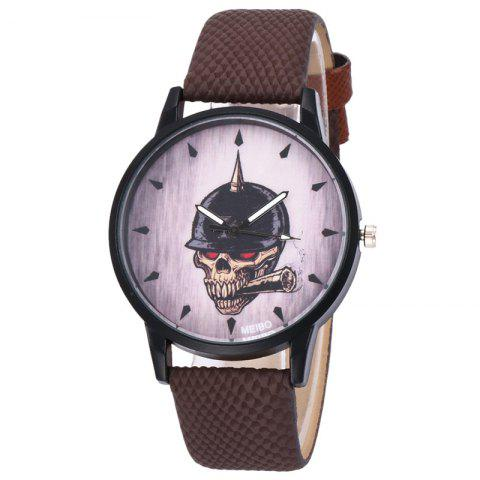 Latest Smoking Skull Face Faux Leather Watch BROWN
