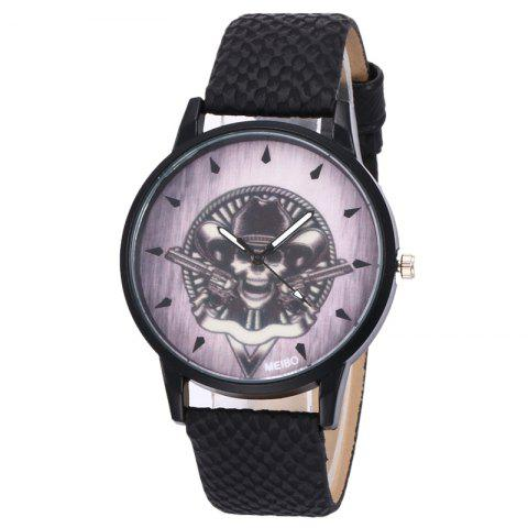 Affordable Gun Skull Face Faux Leather Watch